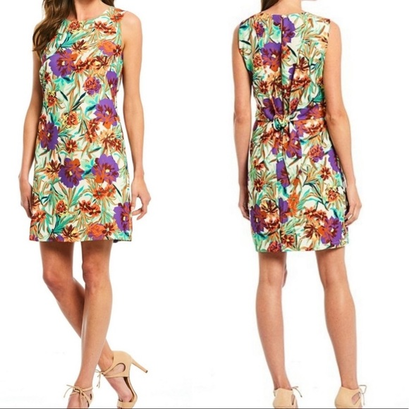 Gibson Latimer Dresses & Skirts - Gibson Latimer Floral Tie Back Shift Dress